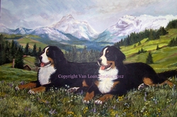 "Bernese Mountain Dog ""In Wildflowers""  Limited Edition Print"