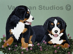 "Bernese Mountain Dog ""Puppies in Clover"""