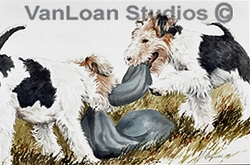 "Fox Terrier ""Wire Fox Puppies Playing"""