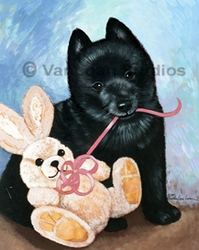 "Schipperke ""Puppy and Bunny"""