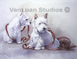 "West Highland White Terrier ""Mischief Makers with Ribbons"""