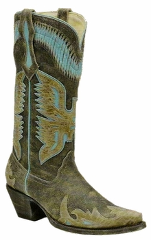 Corral Ladies Black/Antique Saddle-Turquoise Eagle Overlay R2289