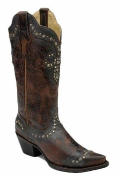 Corral Ladies Boot LD Brown Fleur De Lis Studded Top R1216