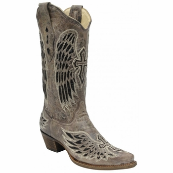Corral Ladies Brown/Black Wing and Cross Sequence A1241