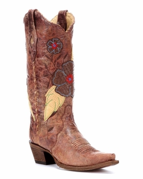 Corral Ladies Distressed Brown Daisy Embroidery Boot A2048