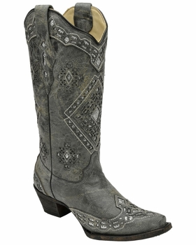 Corral Women's Black & Silver Glitter Inlay Boots A2963