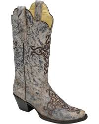 Corral Women's Blue & Bone Cross Embroidery & Crystals Boot R1280