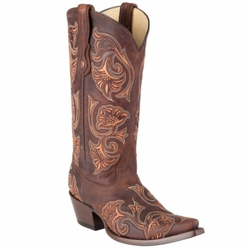 Corral Women's Brown Floral Full Stitch Boot - G1122