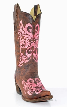 Corral Women's Brown & Pink Dahlia Embroidery A2918