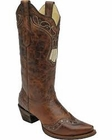 Corral Women's Brown Studded Collar & Wing Tip Boots A2937