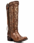 Corral Women's Chedron Ethnic Embroidery Lace Studded Boot - C2904