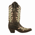 Corral Women's Chocolate with Green & Pink Flowers Boot R1291