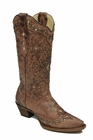 Corral Women's Cognac & Sand Glitter Inlay Boots A2948