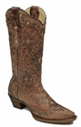 Corral Women's Cognac & Sand Glitter Inlay Boots Size 12B Style:A2948