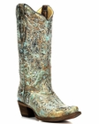 Corral Women's Turquoise/Gold Glitter Butterfly Boot A2970