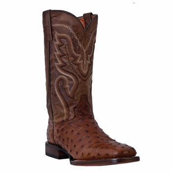 """Dan Post Mens """"Chandler"""" COWBOY CERTIFIED Boots Saddle Brown Full Quill Ostrich DP2984"""