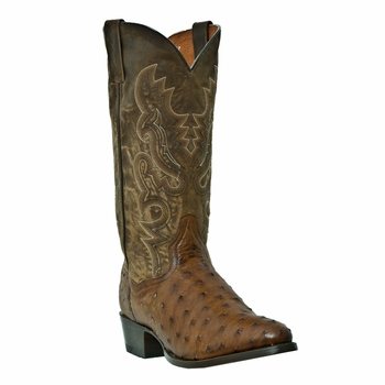 "Dan Post Mens ""Tempe"" Exotic Western Boots Saddle Tan Full Quill Ostrich Foot DP2323"