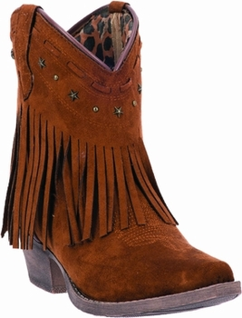 "Dingo Women's ""Cassidy"" Rust Microfiber Fringe Leather Boot DI7448"