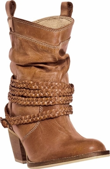 "Dingo Women's ""Twisted Sister"" Tan Buffalo Calf Boots DI-682"