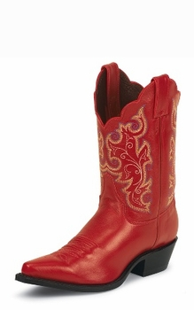 """Justin Ladies 10"""" Red Classic Leather Boots L4971"""