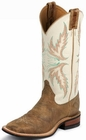 "Justin Ladies Bent Rail Series 13"" Ivory And Tan Puma Cowhide Boots BRL336"