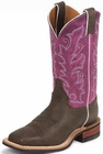 Justin Ladies Bent Rail Series Chocolate And Violet Bisonte Cowgirl Boots BRL330