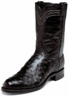 Justin Mens Boots Exotics Collection Black Full Quill Ostrich Roper Boots 3171