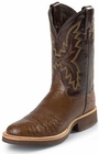 Justin Mens Boots Tekno Crepe Collection Antique Brown Full Quill Ostrich Crepe Soled Boots 5031