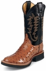 Justin Mens Boots Tekno Crepe Collection Cognac Full Quill Ostrich Crepe Soled Boots 5014