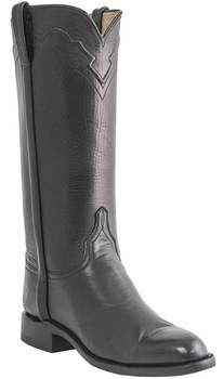 Womens Lucchese Classics Black Florence Buffalo Leather Custom Hand-Made Roper Boots L5519