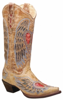 Ladies Corral Boots Antique Saddle Blue Jean Wing And Heart A1976