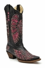 Ladies Corral Boots Black-Pink Wing and Cross with Studs and Crystals A1049