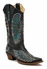 Ladies Corral Boots Black Turquoise Wing and Cross with Studs and Crystals A1048