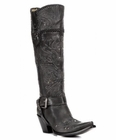 "<Font size=5 color=""red""><b>></b></Font>Ladies Corral Boots Black Whip Stitch & Studs Tall Boot G1117"