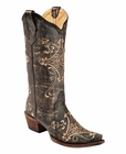 "<Font size=5 color=""red""><b>></b></Font>Ladies Corral Boots Brown Crackle/Bone Embroidery G5048"