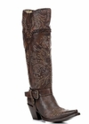 "<Font size=5 color=""red""><b>></b></Font>Ladies Corral Boots Brown Whip Stitch & Studs Tall Boot G1116"