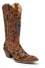 Ladies Corral Boots Cognac/Choc Goat Crystal Heart C1110