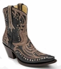 Ladies Corral Boots LD Black And Brown Short Top Inlay With Studs G1074