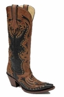 Ladies Corral Boots LD Black Cognac Laser Tall Top Inlay And Studs G1072