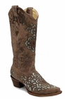 Ladies Corral Boots Ld Sand Blue Laser Inlay A2628