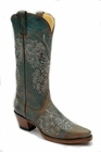 Ladies Corral Boots LD Turquoise Butterfly Crystals And Studs R1155