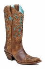 Ladies Corral Boots Lds Brown Turquoise Laser Tool C1620