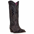 "<Font size=5 color=""red""><b>></b></Font>Ladies Laredo ""Lucretia"" Black/Tan All Leather Fashion Boots 52133"