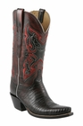 Ladies Lucchese Classics Black Cherry Lizard Embellished Custom Hand-Made Western Boots L4140