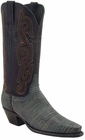 Ladies Lucchese Classics Black Sanded Lizard Custom Hand-Made Western Boots L4113