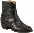 Ladies Lucchese Classics Black Tooled Leather Custom Hand-Made Side Zip Botin Boots F5467