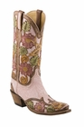 Ladies Lucchese Classics Detroyed Pink Filligree Hand Tooled Western Boots L4691