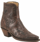 Ladies Lucchese Classics Mahogany Tooled Leather Custom Hand-Made Side Zip Botin Boots F5468