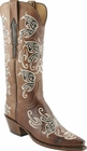Ladies Lucchese Classics Nutmeg Burnished Pig Custom Hand-Made Western Boots L4672