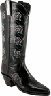 Ladies Lucchese Classics Rose Stitch Black Buffalo Leather Custom Hand-Made Tall Boots L4597